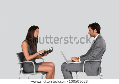 Business people in meeting- isolated