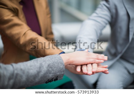 Business people join hands support together concept #573913933