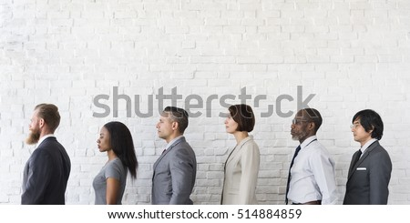 Business People Line up Waiting Standing Concept