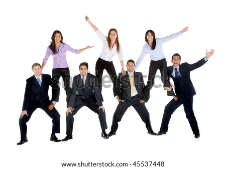 Business people making a pyramid isolated over a white background