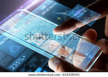 business, people, mass media and technology concept - hands with business web page on smartphone screen over black background