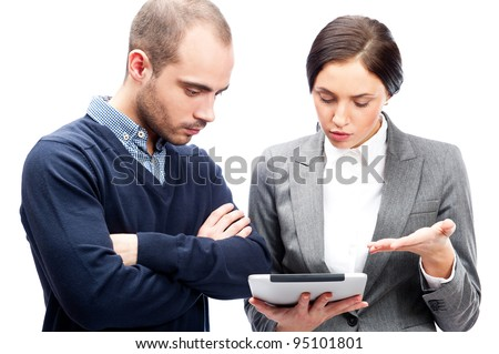 Business people meeting and discussing their plans using tablet computer