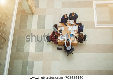 Business People Meeting Conference Discussion Corporate Concept. high angle view #708636160