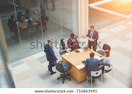 Business People Meeting Conference Discussion Corporate Concept. high angle view