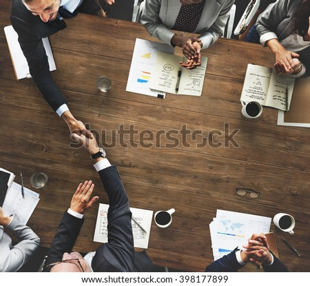 Business People Meeting Corporate Handshake Greeting Concept #398177899