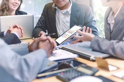 Business people meeting good teamwork in office.Teamwork successful Meeting Workplace strategy Concept.