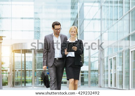 Business people meeting in financial district #429232492