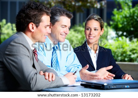 Business people meeting in the downtown. Businessmen and business woman