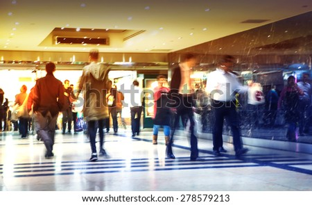 Business people moving blur. People walking in rush hour. Business and modern life concept