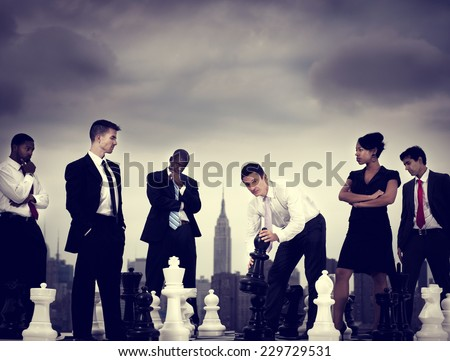 Business People New York Chess Game Concept