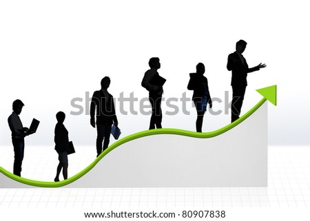 business people on a graph