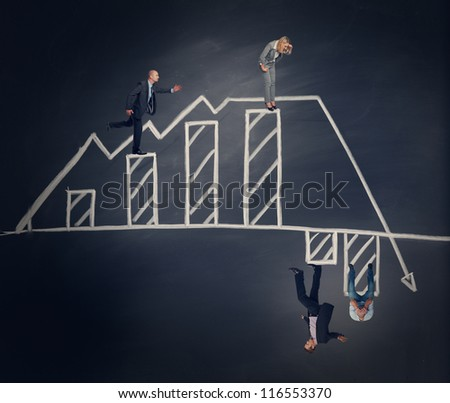 business people on abstract chart