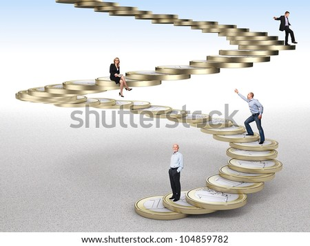 business people on coin euro stair