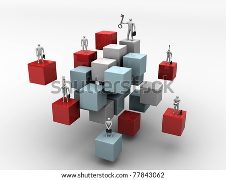 business people on 3d abstract cube background - 3d ilustration