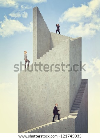 business people on 3d abstract tower