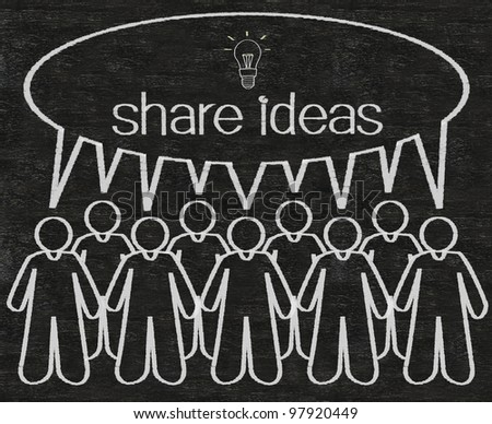 business people or employees share ideas on dialog box figure written with chalk on a blackboard background