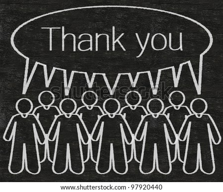 business people or employees with thank you dialog box figure written with chalk on a blackboard background