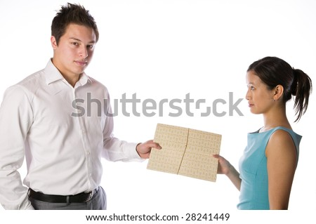 Business people passing a folder isolated against white background