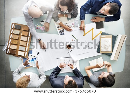 Business People Planning Blueprint Architecture Concept #375765070