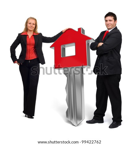 Business people presenting a 3d rendered red home key