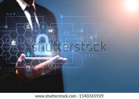 Business people protect personal information on smart phones Privacy concepts of data protection, travel transactions, cyber security networks Padlock icon and internet technology network