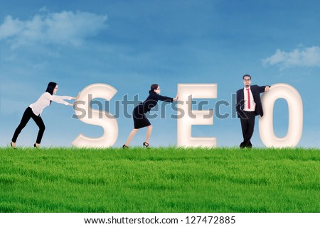 Business people pushing SEO letter on grass under blue sky