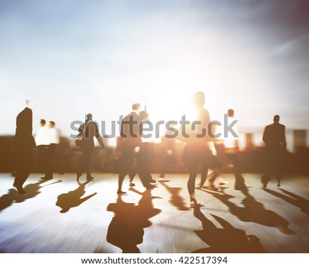 Business People Rush Hour Walking Commuting City Concept #422517394