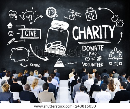 Business People Seminar Give Help Donate Charity Concept