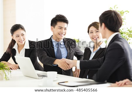 business people shaking hands during meeting #485405566