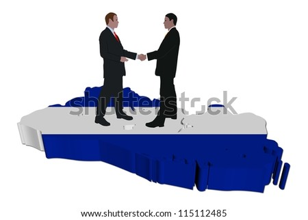Business people shaking hands on El Salvador map flag illustration