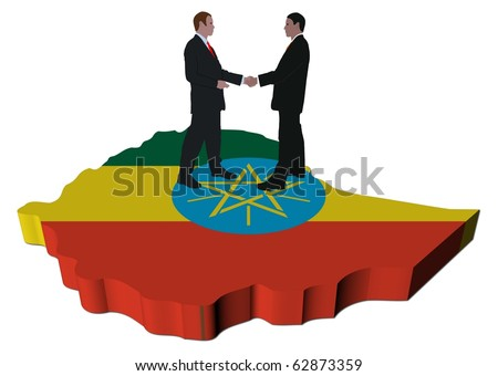 Business people shaking hands on Ethiopia map flag illustration
