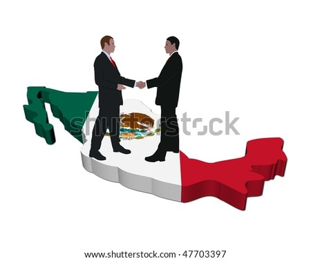 Business people shaking hands on Mexico map flag illustration