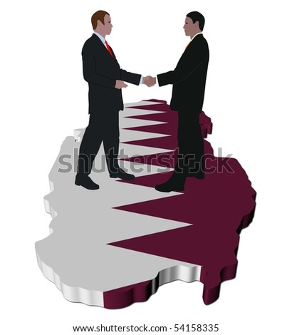 Business people shaking hands on Qatar map flag illustration