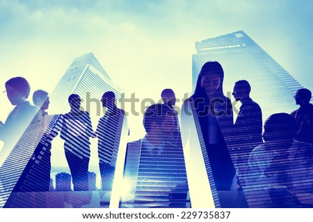 Business People Silhouette Transparent Building Concept
