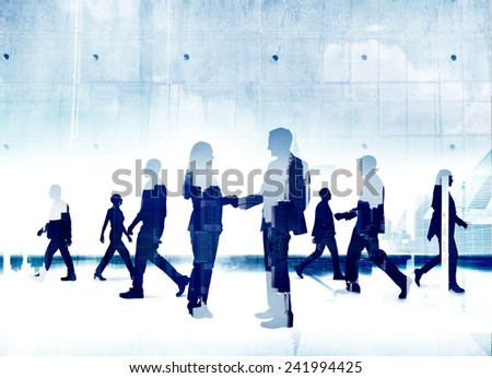 Business People Silhouette Working Agreement Teamwork Organization Concepts