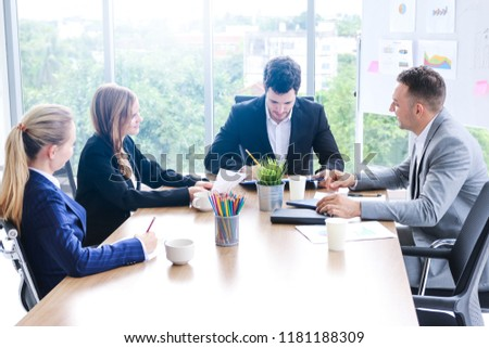 business people sitting and meeting and discussion in meeting room and office lady staff leader presenting