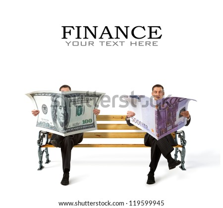 Business People sitting on a bench with currency in hands