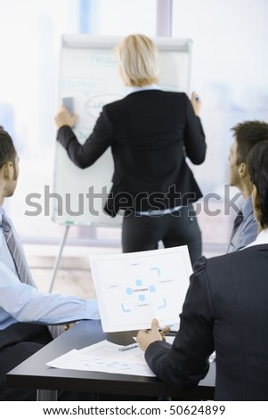 Business people sitting on presentation at office. Businesswoman drawing to white board. Focus on diagram in front.