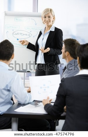 Business people sitting on presentation at office. Businesswoman presenting on white board. - stock photo