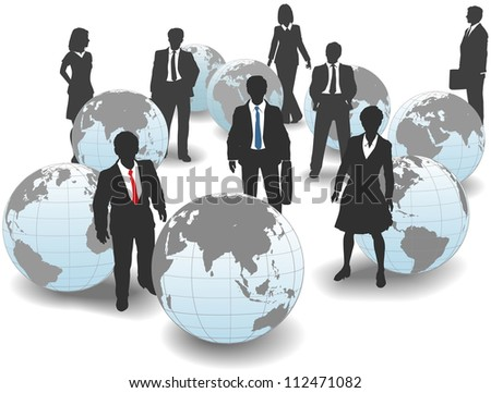 Business people stand in world group as global workforce team
