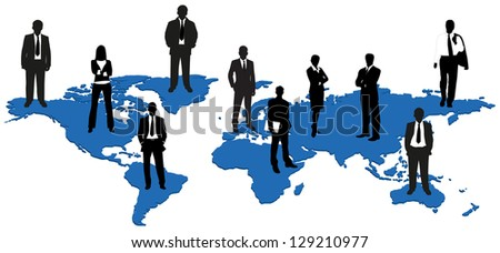 Business people standing on the world map. Global business, teamwork concept.