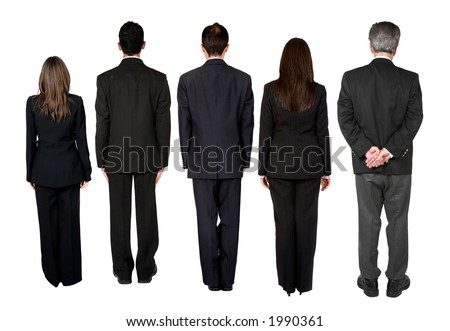 business people standing with their backs facing the camera