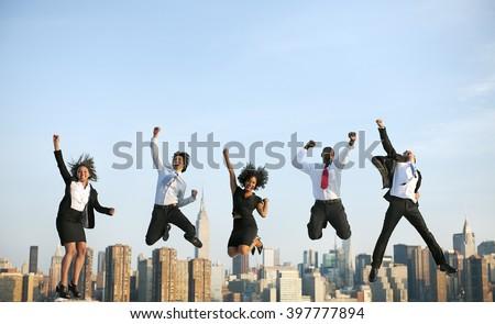 Business People Success Achievement City Concept #397777894