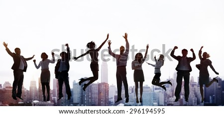 Business People Success Excitement Victory Achievement Concept