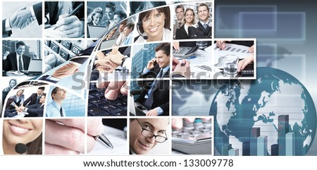 Business people team collage. Technology background.