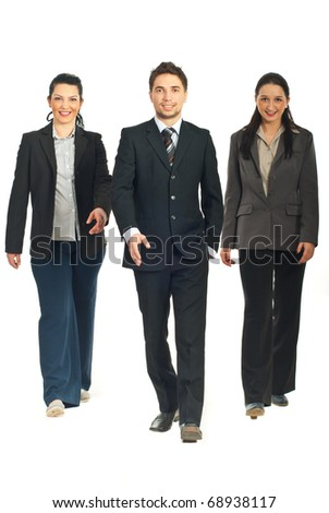 Business people team walking isolated on white background
