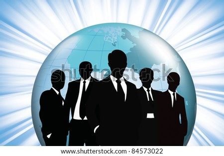 Business people team with world.