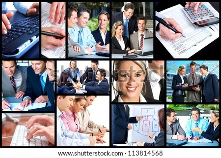 Business people team working in the office. Collage background.