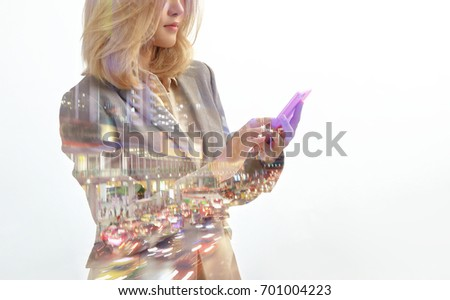Business people using smartphone on double exposure background with business pattern #701004223