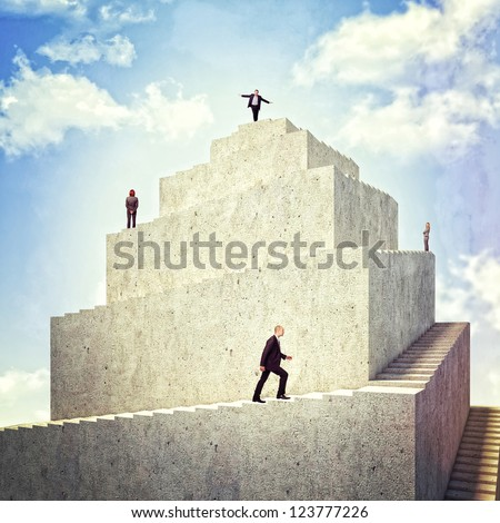 business people walk on 3d tower